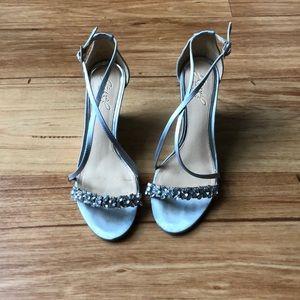 Jewel Badgley Mischka silver heels!